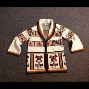 Vintage Ethnic Hangs Open Sweater M
